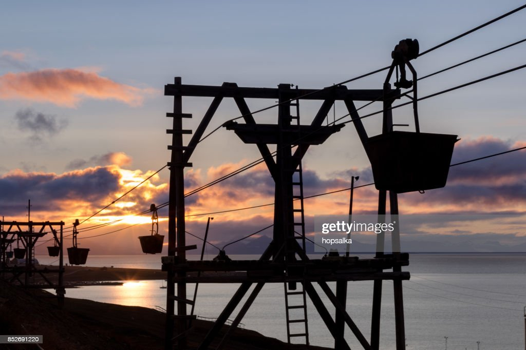 Old cableway for transporting coal in Longyearbyen, Svalbard : Stock Photo