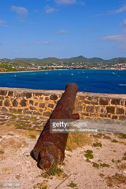 Old canon on Pigeon Point overlooking Rodney Bay, St. Lucia, Windward Islands, West Indies, Caribbean, Central America