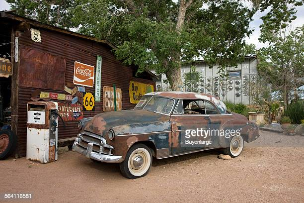 Old car and gas pump Hackberry General Store Route 66 Hackberry Arizona