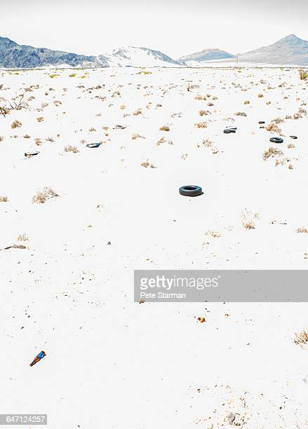 old car tires in desert landscape. - カリフォルニア州ベーカー ストックフォトと画像