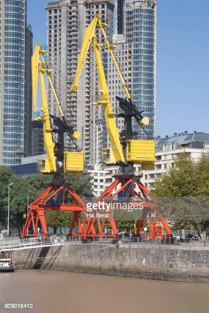 Old cargo cranes decorate the Puerto Madero district