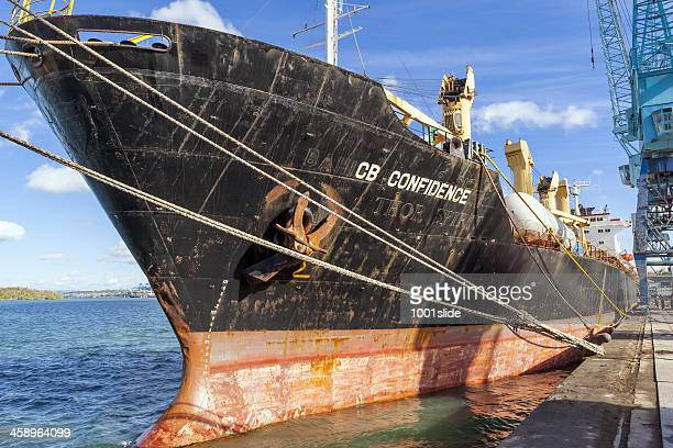 old cargo ship at mombasa port in kenya - mombasa stock photos and pictures