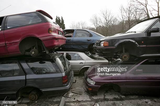 GERMANY BONN Old cars on a German scrapyard