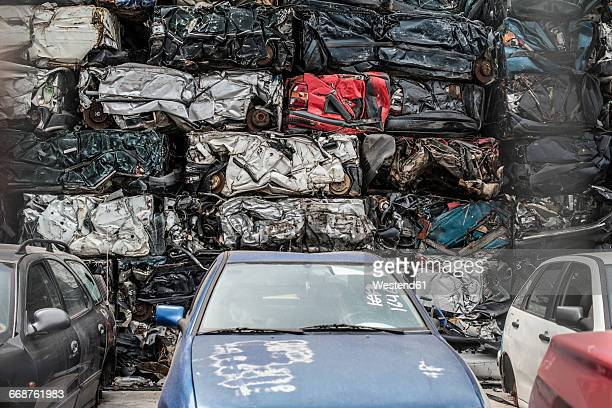 old cars on car dump - junkyard stock photos and pictures