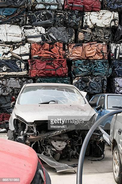 Old cars on car dump