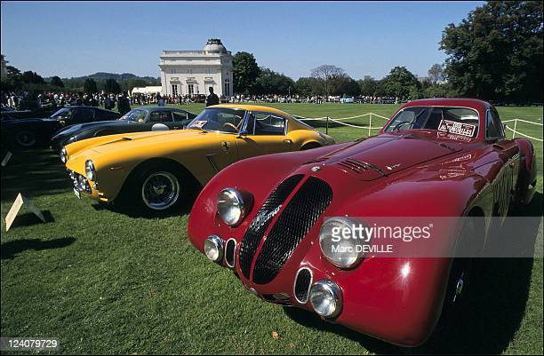 Old cars show in Bagatelle in Paris France on September 08 1991 Alfa Romeo 1937 Ferrari