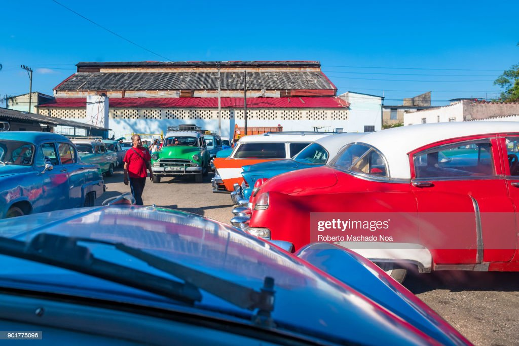 Old cars terminal for inter-cities transportation. In Cuba ...
