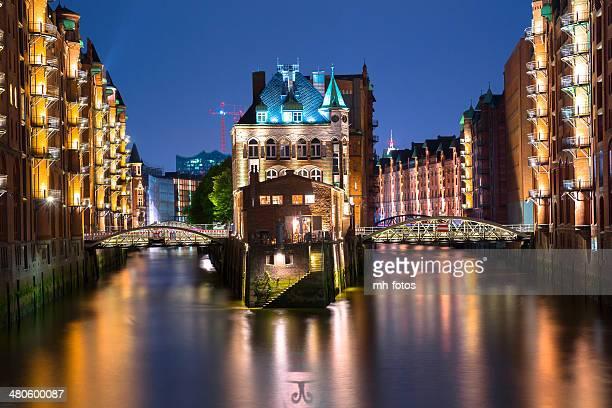 Old castle in the Speicherstadt of Hamburg