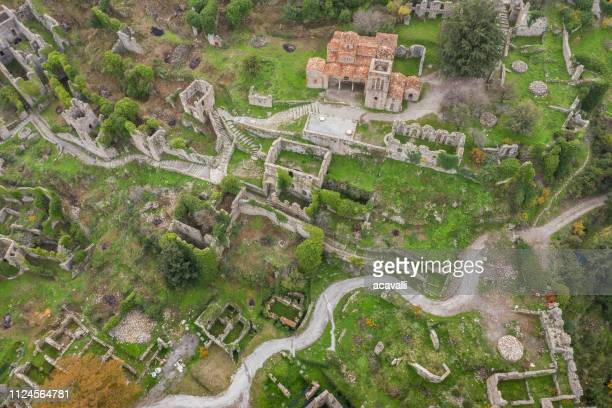 old castle ruins on a mountain - sparta stock photos and pictures