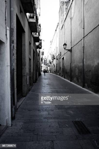 Old catalonia street in Spain (black and white fine art image)