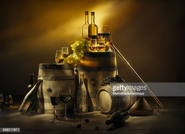 old cellar. wine, brandy, whiskey, calvados. - rum stock pictures, royalty-free photos & images