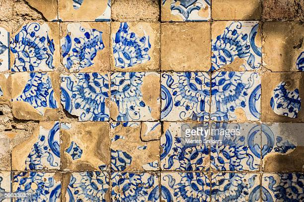 Old ceramic blue and white tiles