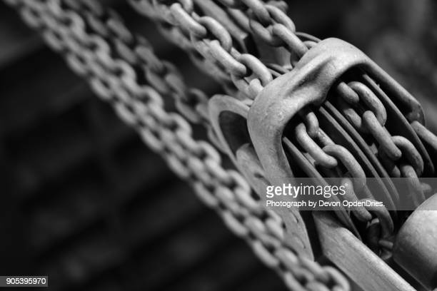 Old Chain Hoist Pulleys in Black and White