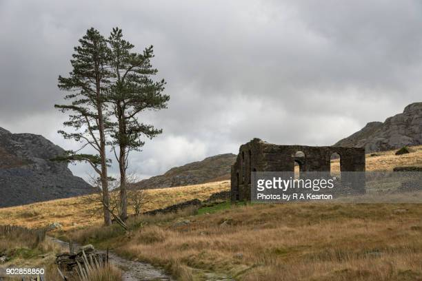old chapel at cwmorthin quarry, blaenau ffestiniog, north wales - social history stock pictures, royalty-free photos & images
