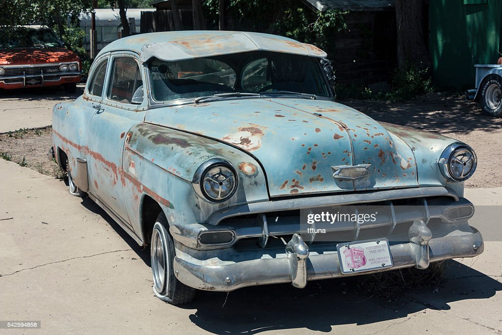 Old Chevrolet Car Near Route 66 Stock Photo   Getty Images
