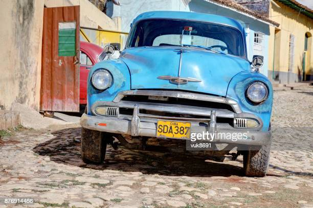 old chevrolet parked in the center of trinidad - chevrolet stock pictures, royalty-free photos & images
