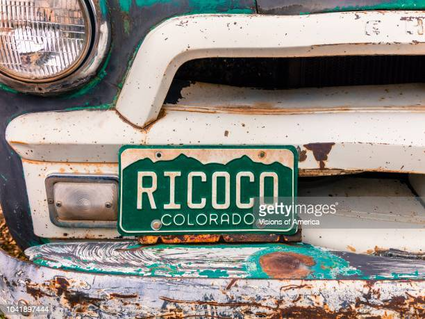 Old Chevy Pickup truck with custom Colorado License plate saying RICOCO Rico Colorado