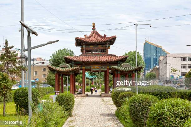 old chinese pavilion in ulan bator - gwengoat stock pictures, royalty-free photos & images
