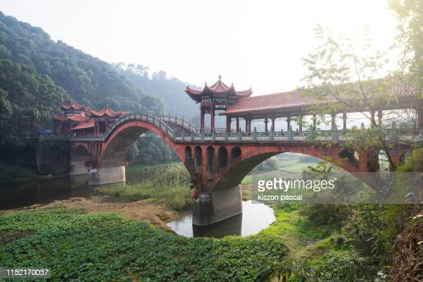 old chinese style bridge with stone arch in china . sichuan province . - arch stock pictures, royalty-free photos & images