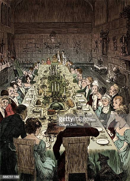 Christmas Dinner Caption Never did Christmas board display a more goodly and gracious assemblage of countenances Illustrations designed by Randolph...