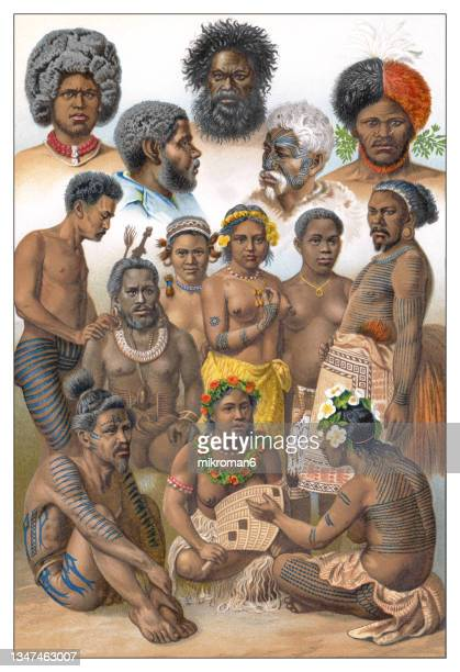 old chromolithograph illustration of ethnology - cambo an aboriginal australian people - unfairness stock pictures, royalty-free photos & images