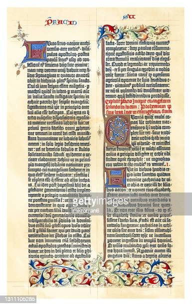 old chromolithograph illustration of gutenberg bible page - bible stock pictures, royalty-free photos & images