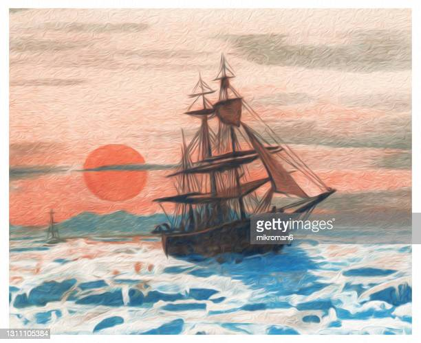 old chromolithograph illustration of midnight sun. sailing ship in the floating ice - antarctic ocean stock pictures, royalty-free photos & images