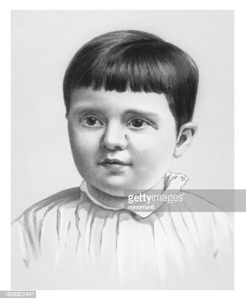 old chromolithograph illustration of portrait of a small child, infant, baby child - lithograph stock pictures, royalty-free photos & images