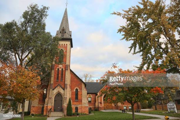 Old church pictured during the Autumn season in Unionville, Ontario, Canada.