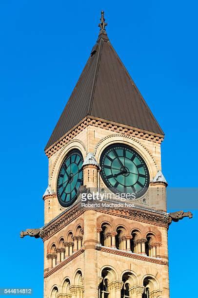 old city hall clock tower in toronto,canada - 時計台 ストックフォトと画像