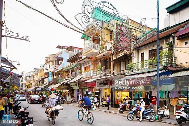 旧市街 ハノイ ベトナム オブリーク ハング dao 通りの眺め