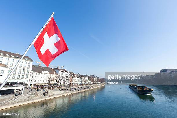 Old City of Basel River Rhine with Swiss Flag