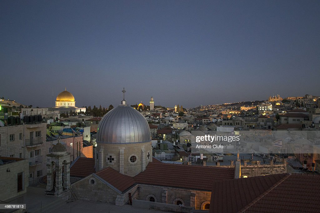 Old city of Jerusalem - Dome of the Rock at night : Stock Photo