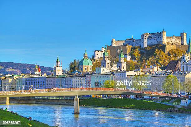 old city of salzburg beside the river salzach - salzburger land stock pictures, royalty-free photos & images