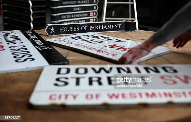 Old City Of Westminster signs including Houses of Parliment Abbey Road Downing Street and Charing Cross ahead of their auction on May 14 2013 in...