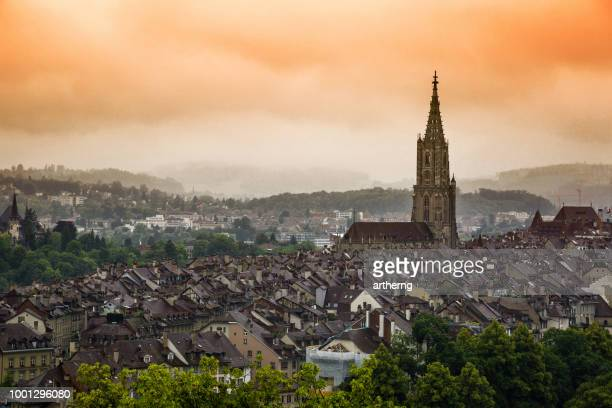 old city skyline at sunset, bern, switzerland - bern canton stock pictures, royalty-free photos & images