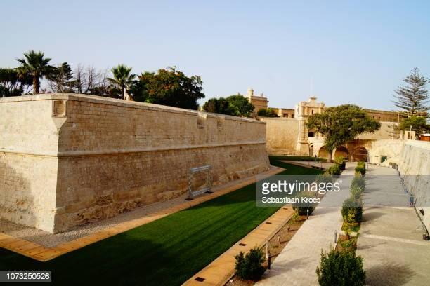 Old city Wall and Mdina Gate, Mdina at Dusk, Malta