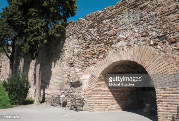 old city wall, durres county, albania - durazzo foto e immagini stock