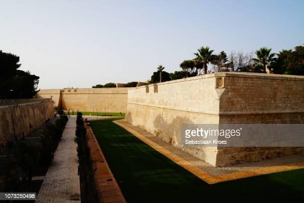 Old city wall of Mdina in the evening Sun, Mdina, Malta