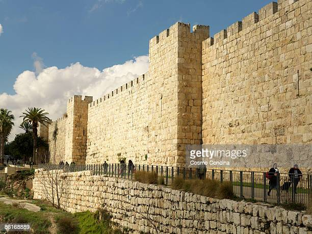 old city walls of jerusalem - fortified wall stock photos and pictures