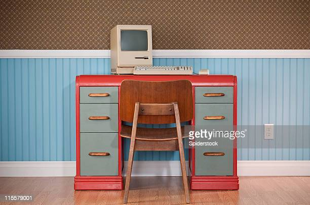 old classic computer on retro desk - funky stock pictures, royalty-free photos & images