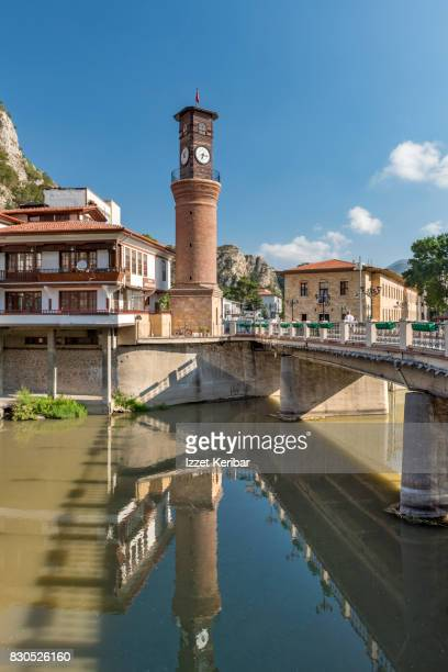 old clock tower and bridge at amasya , turkey - clock tower stock pictures, royalty-free photos & images