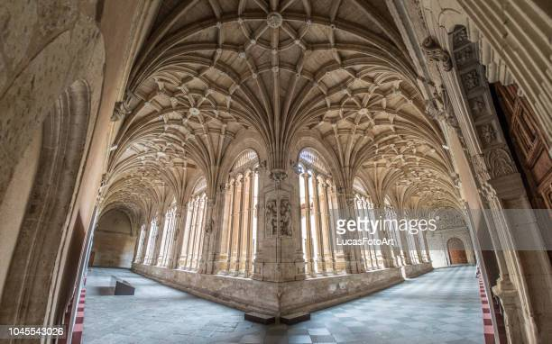 old cloister of convent of san esteban - gothic stock pictures, royalty-free photos & images