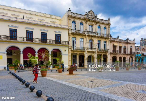 Old colonial architecture in the Old Plaza in the Cuban capital city The area is a Unesco World Heritage Site