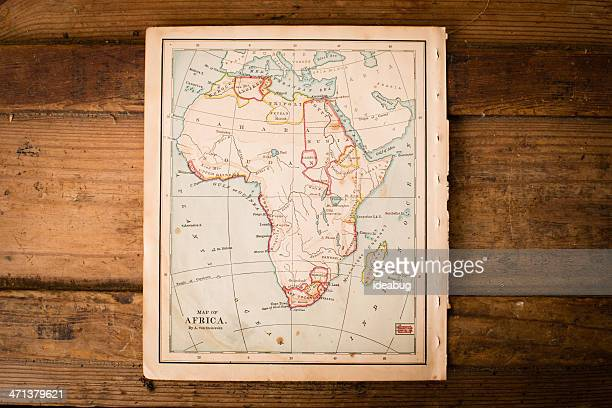 Old Color Map of Africa, From 1800's, on Wood Background