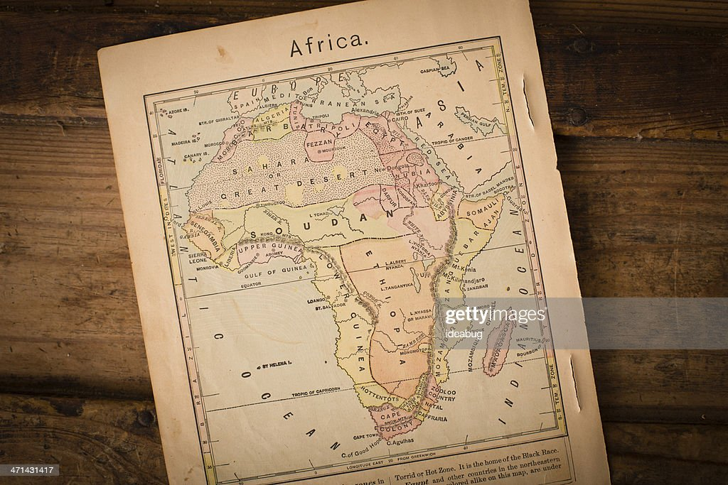 1867, Old Color Map of Africa, on Wood Background : Stock Photo