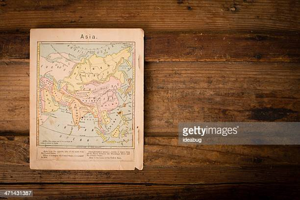 1867, vieux, couleur carte de l'Asie, avec espace pour copie