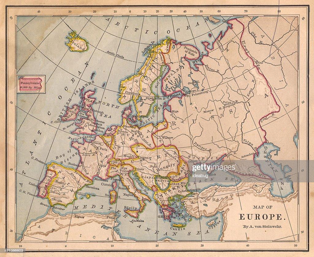 Color antiguo Mapa de Europa del siglo XIX : Foto de stock