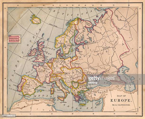 old color map of europe, from 1800's - maps stock photos and pictures