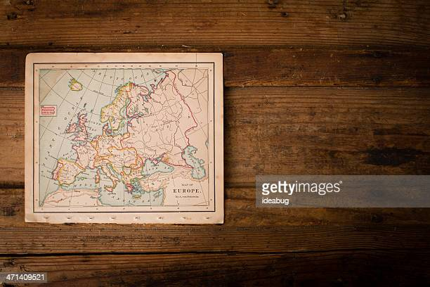 old color map of europe, from 1800's, with copy sapce - vintage world map stock photos and pictures
